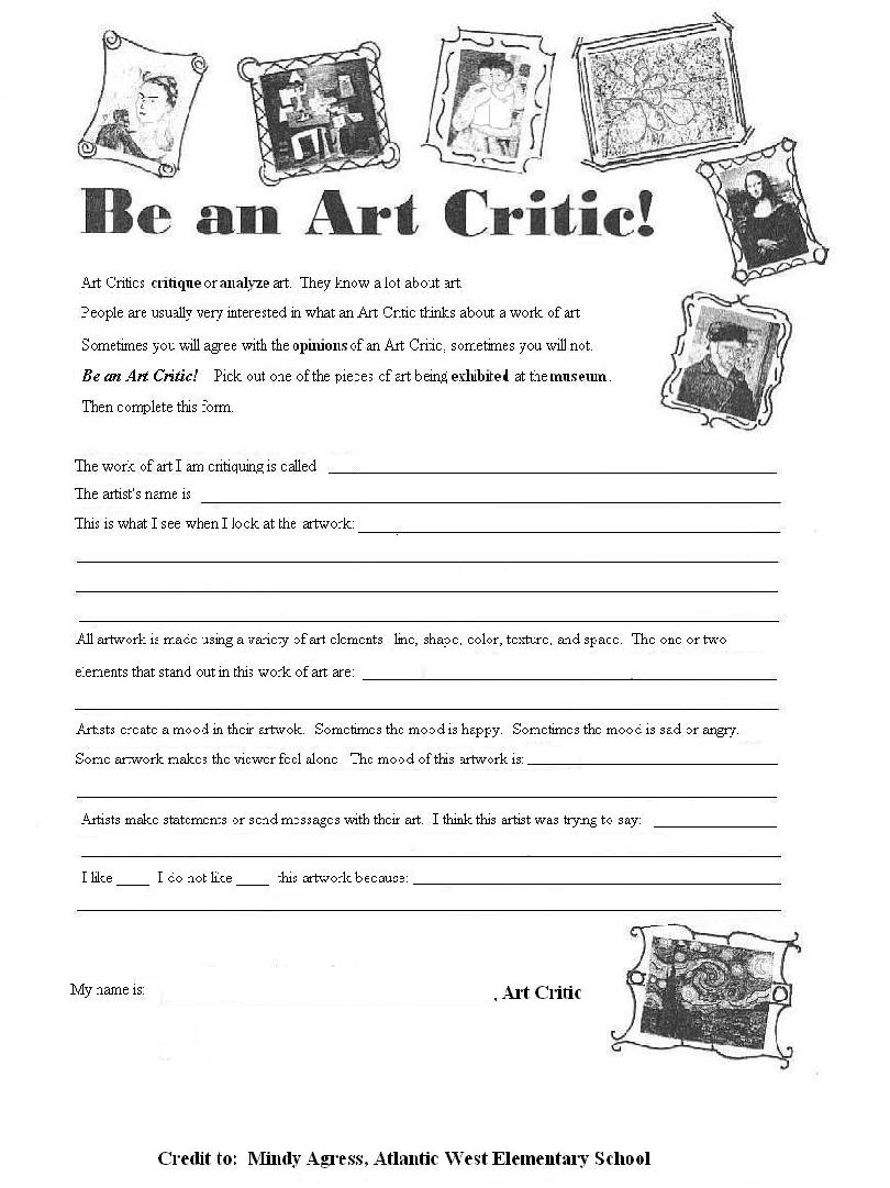 Worksheets Art Critique Worksheet the back patting society letter from editor 500words 810 art critic form primary grades k 2 clear