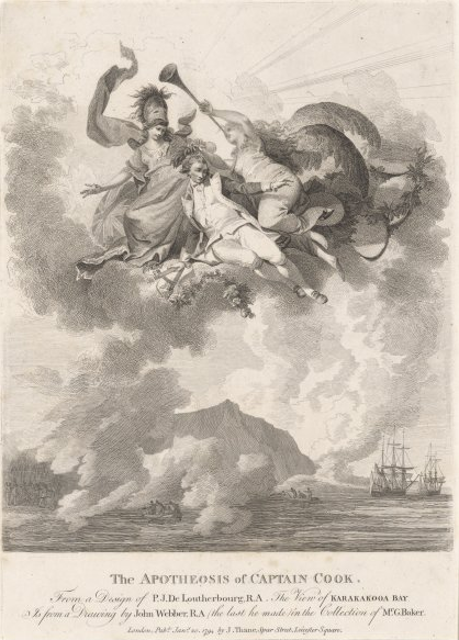 (featured image) The Savages of the Pacific Ocean, 1804-05.   Jean Gabriel Charvet  (Above) The Apotheosis of Captain James Cook, 1794. Philippe Jacques de Loutherbourg
