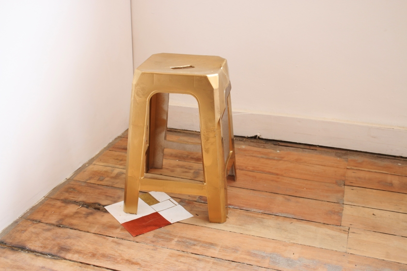 Clinton Richard, Golden Mondrian, Found discarded chair, spray paint, gold:silver paper, acrylic, pen.