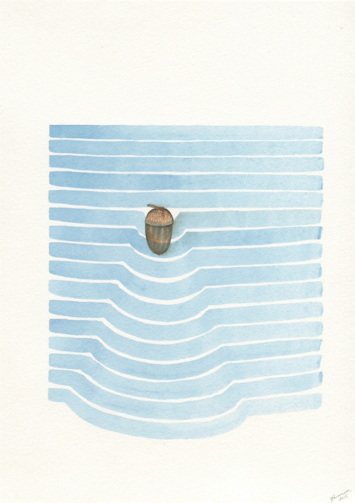 Zina Swanson, Pocket Acorn 2015, Watercolour on Paper, 150mm x 210mm, Courtesy of the artist