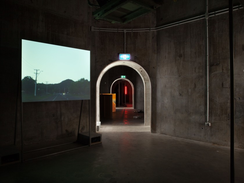 Natalie Robertson, Kawerau drive through, 2006/2015digital video, 4:3, sound, 14:27 min,(installation veiw Silo 6, Auckland)