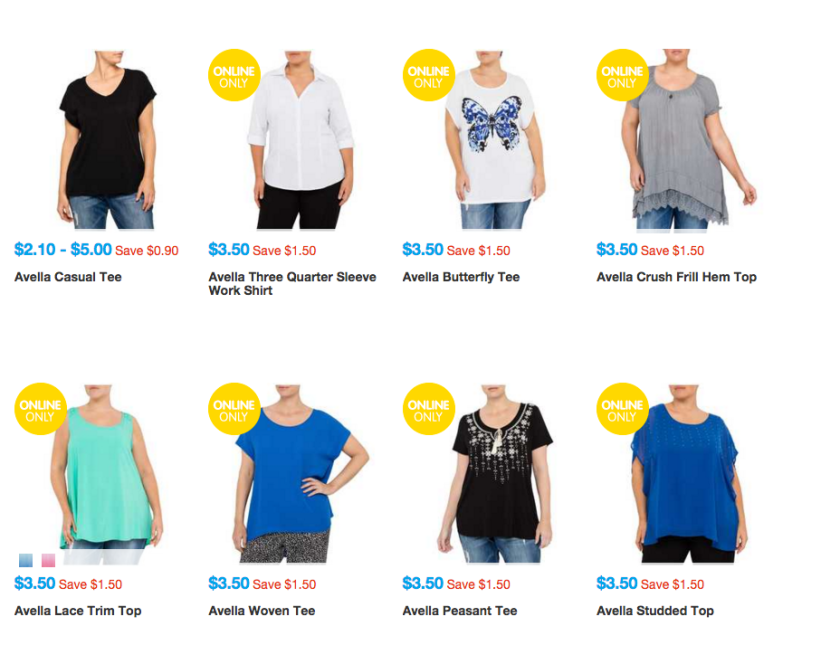 Pic 2 - Australian chain store Big W's online plus-size selection